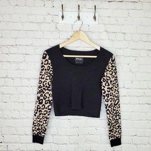 Nasty Gal cropped cheetah print sweater
